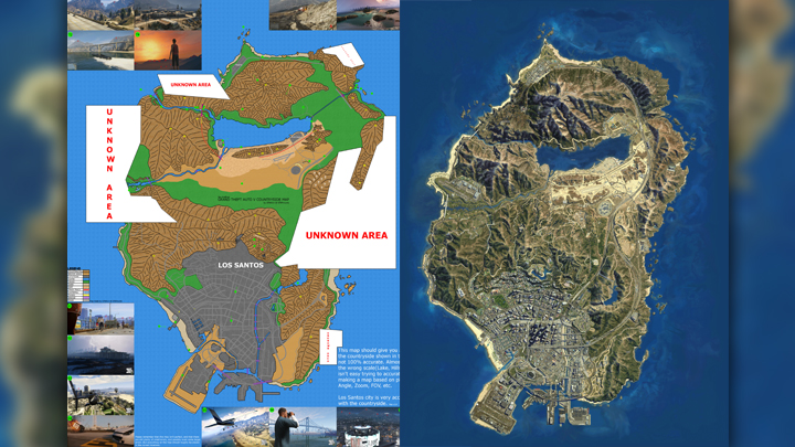 GTA V map prediction by gtaforums' user GTAKiwi vs. the actual map. This is where analyzing dozens of screenshots over hundreds of hours gets you. - 2016-11-03