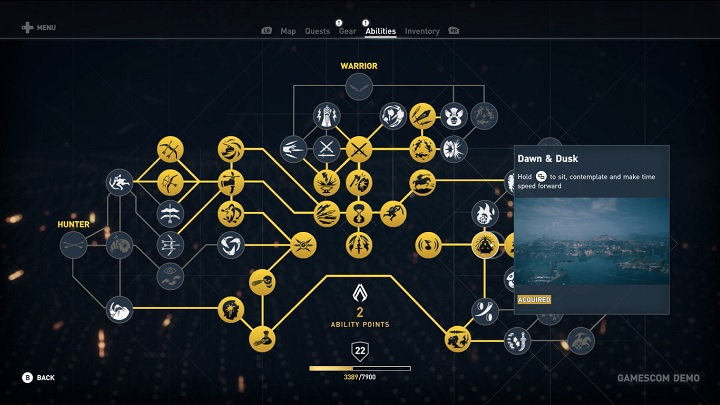 A glance at Bayek's skill trees. - 2017-08-31