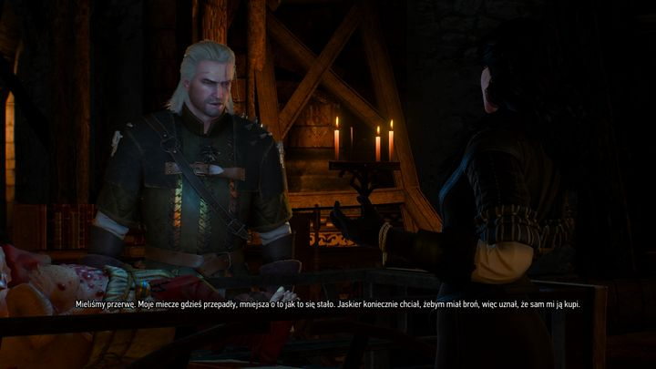 Looking to entertain Yennefer, tired after performing rituals over Uma in Kaer Morhen, Geralt tells her a short anecdote on how he lost his swords (and especially on how Dandelion unsuccessfully tried to compensate his loss). That's another nod towards Season of Storms in The Wild Hunt. - 2017-06-16