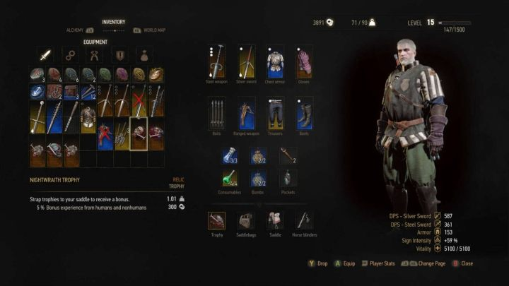 The inventory screen in the console version of The Witcher 3 is a real pain if you don't have a large TV set. - 2018-03-06