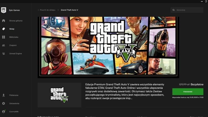 Interest in the GTAV was so great that even two days after the start of the giveaway, Epic's servers were still overloaded. - Free GTA 5 Spells Checkmate from Epic Games - dokument - 2020-05-20