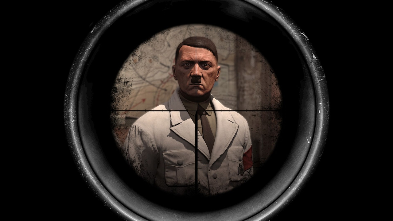 Sniper Elite series lets you shoot Adolf Hitler, but the swastika on his arm was replaced with a made up symbol. - 2015-02-17