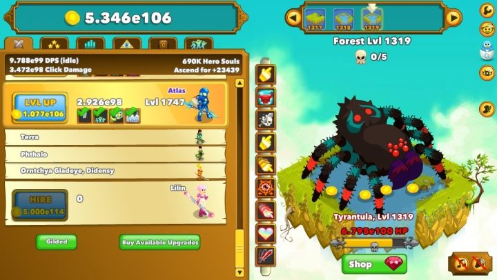Clicker Heroes. A thoroughly typical clicker. But a well-polished one at that. Almost perfectly, in fact – before I finally decided that enough was enough, the Steam counter showed some 6000+ hrs. - 2018-01-09