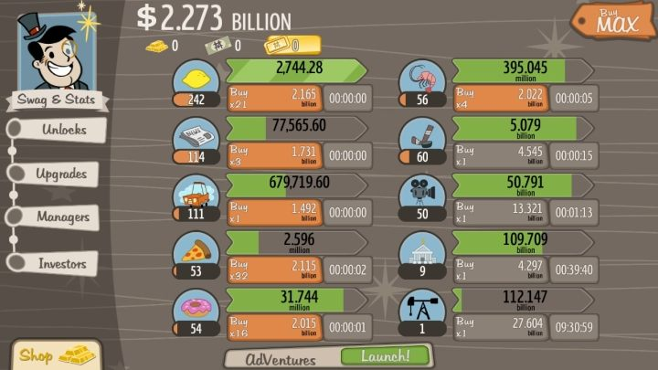 "AdVenture Capitalist is another representative of the genre, which offers a crash course on ""how to quickly become a trillionaire"". - 2018-01-09"