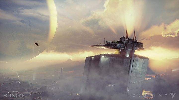 The Tower on the outskirts of The Last City offers a stunning view of the Traveler. - 2017-08-10