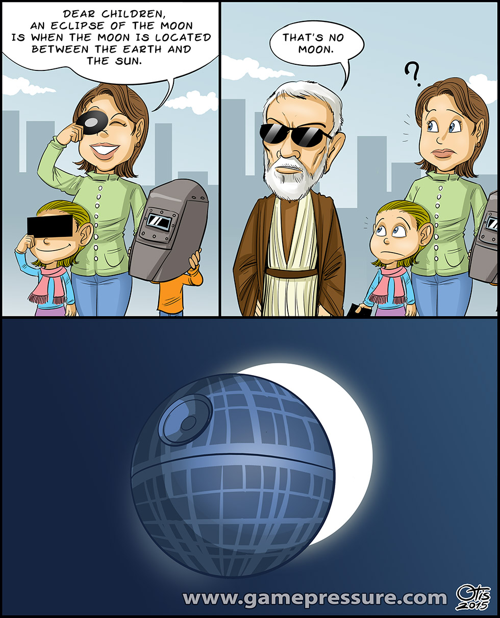That's no moon, comics Cartoon Wars, #63. What happens during the eclipse? Obi-Wan Kenobi has an answer.