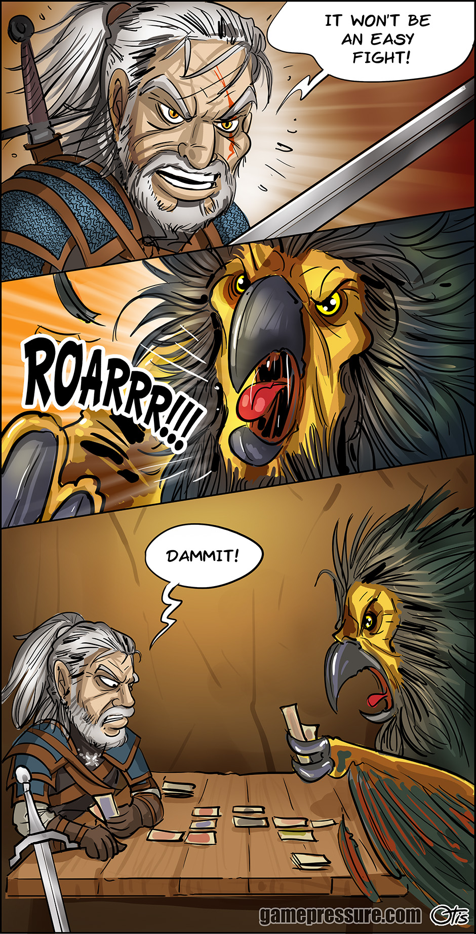 Geralt faces a dangerous monster, comics Cartoon Games, #218. The life of a witcher is not an easy one. Geralt faces dangerous opponents every day.