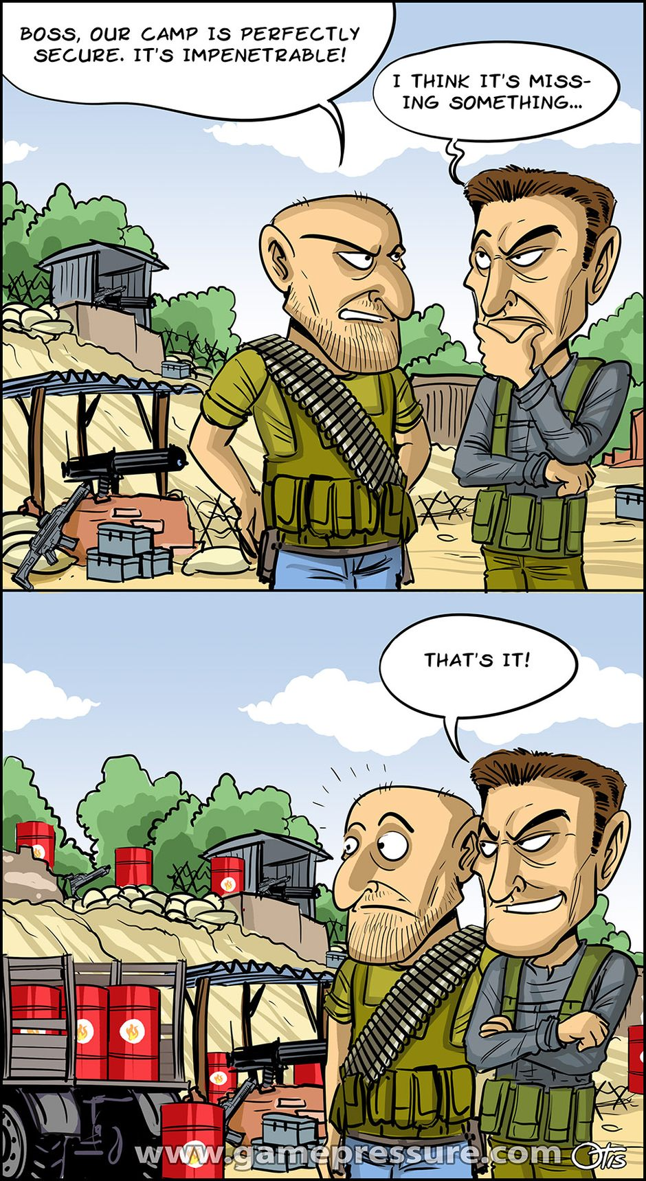 Game Realism - Base, comics Cartoon Games, #127. How not to fortify your base...