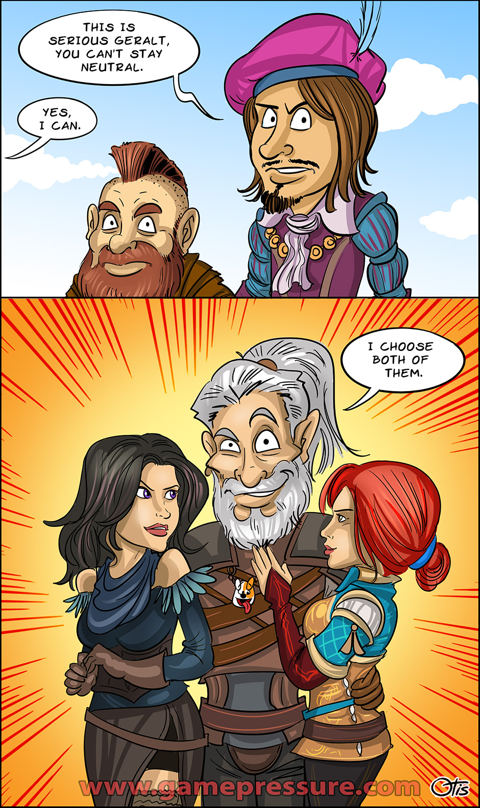Geralt always stays neutral, comics Cartoon Games, #235. White Wolf is the only witcher who can stay neutral in such cases.