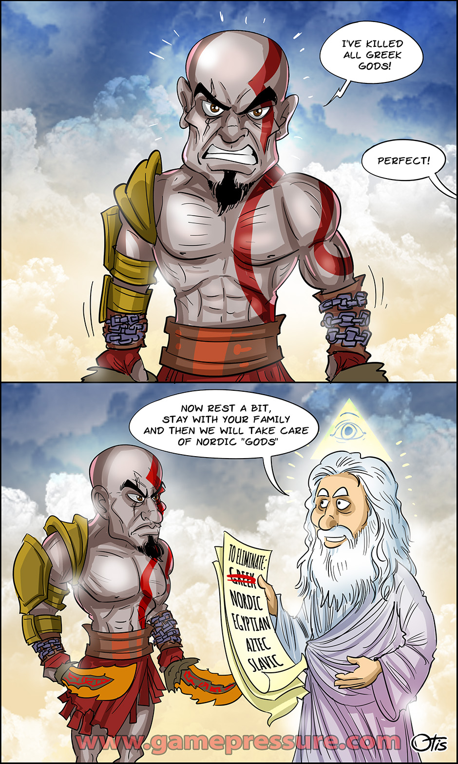 Kratos is ready for some god-slaying, comics Cartoon Games, Issue #234. He's done with the Greek gods, now what?!
